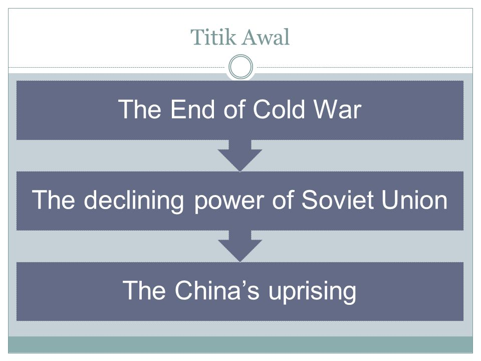 Titik Awal The China's uprising The declining power of Soviet Union The End of Cold War