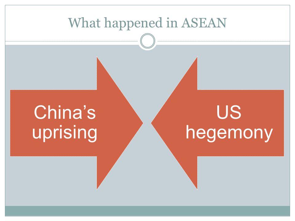 What happened in ASEAN China's uprising US hegemony