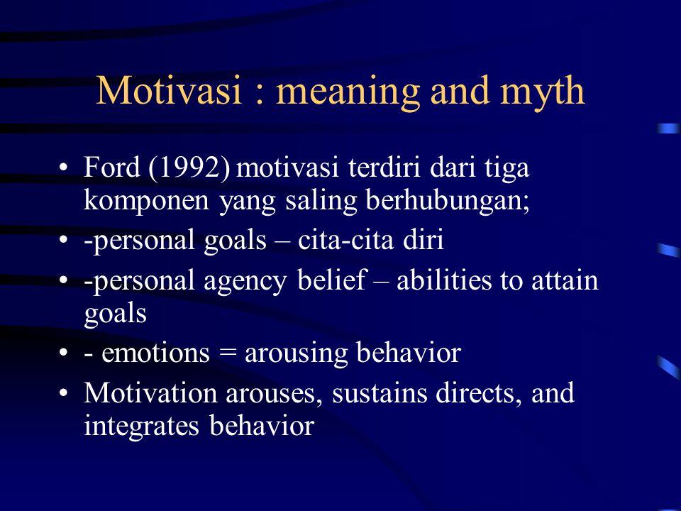 Motivasi : meaning and myth Ford (1992) motivasi terdiri dari tiga komponen yang saling berhubungan; -personal goals – cita-cita diri -personal agency belief – abilities to attain goals - emotions = arousing behavior Motivation arouses, sustains directs, and integrates behavior