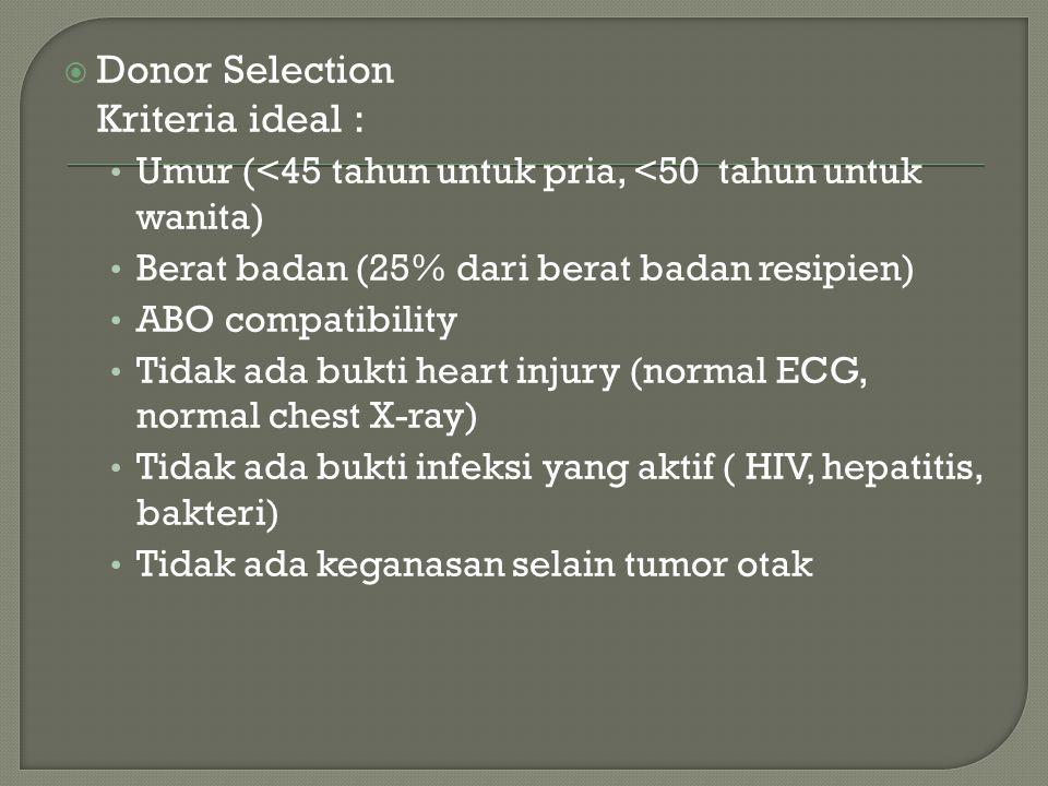  Donor Selection Kriteria ideal : Umur (<45 tahun untuk pria, <50 tahun untuk wanita) Berat badan (25% dari berat badan resipien) ABO compatibility Tidak ada bukti heart injury (normal ECG, normal chest X-ray) Tidak ada bukti infeksi yang aktif ( HIV, hepatitis, bakteri) Tidak ada keganasan selain tumor otak