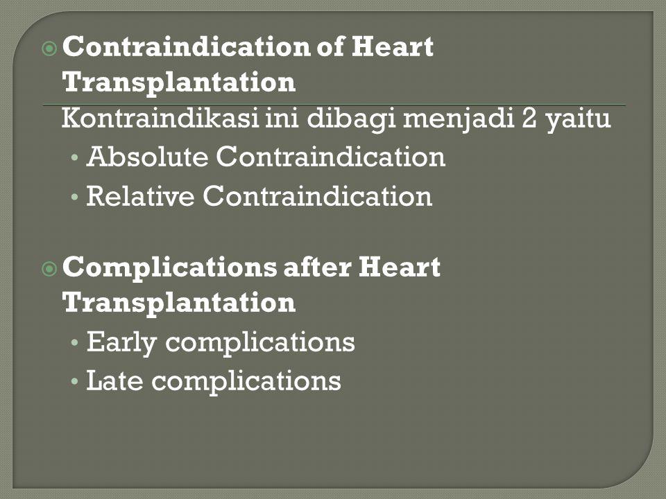  Contraindication of Heart Transplantation Kontraindikasi ini dibagi menjadi 2 yaitu Absolute Contraindication Relative Contraindication  Complications after Heart Transplantation Early complications Late complications