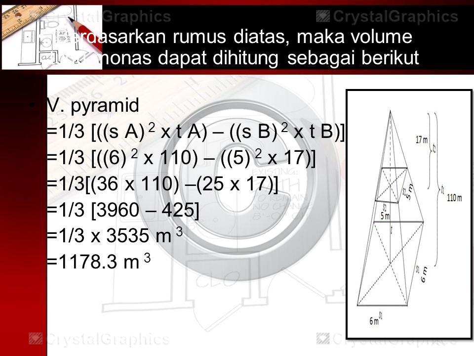 Berdasarkan rumus diatas, maka volume tugu monas dapat dihitung sebagai berikut : V.