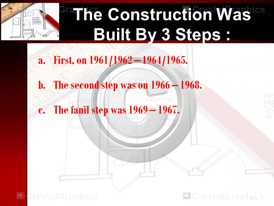 The Construction Was Built By 3 Steps : a.First, on 1961/1962 – 1964/1965.