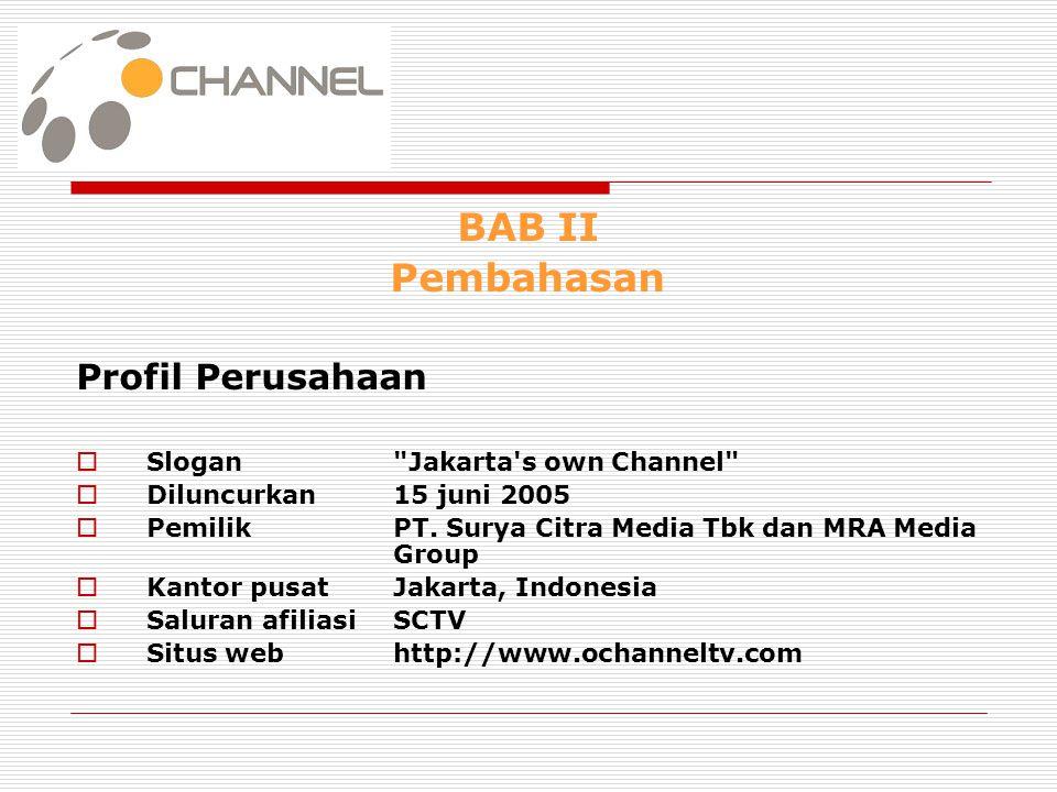 BAB II Pembahasan Profil Perusahaan  Slogan Jakarta s own Channel  Diluncurkan15 juni 2005  PemilikPT.