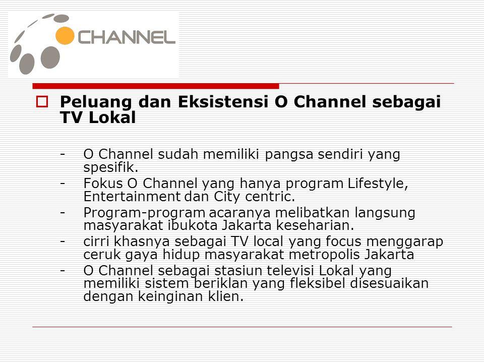  Peluang dan Eksistensi O Channel sebagai TV Lokal -O Channel sudah memiliki pangsa sendiri yang spesifik. -Fokus O Channel yang hanya program Lifest