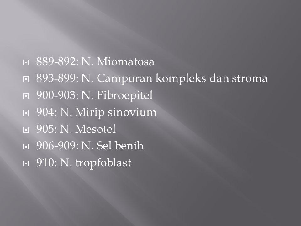  889-892: N. Miomatosa  893-899: N. Campuran kompleks dan stroma  900-903: N. Fibroepitel  904: N. Mirip sinovium  905: N. Mesotel  906-909: N.
