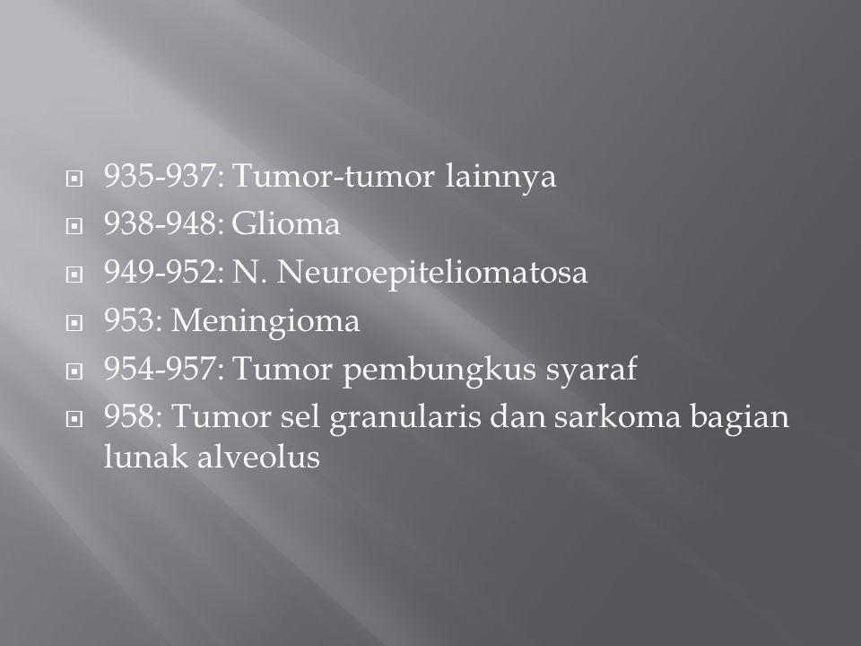 935-937: Tumor-tumor lainnya  938-948: Glioma  949-952: N. Neuroepiteliomatosa  953: Meningioma  954-957: Tumor pembungkus syaraf  958: Tumor s