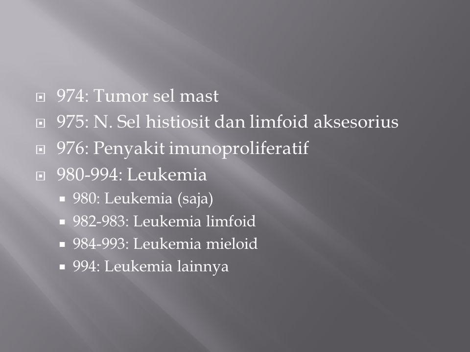  974: Tumor sel mast  975: N. Sel histiosit dan limfoid aksesorius  976: Penyakit imunoproliferatif  980-994: Leukemia  980: Leukemia (saja)  98