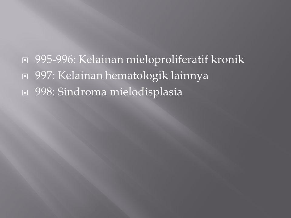  995-996: Kelainan mieloproliferatif kronik  997: Kelainan hematologik lainnya  998: Sindroma mielodisplasia