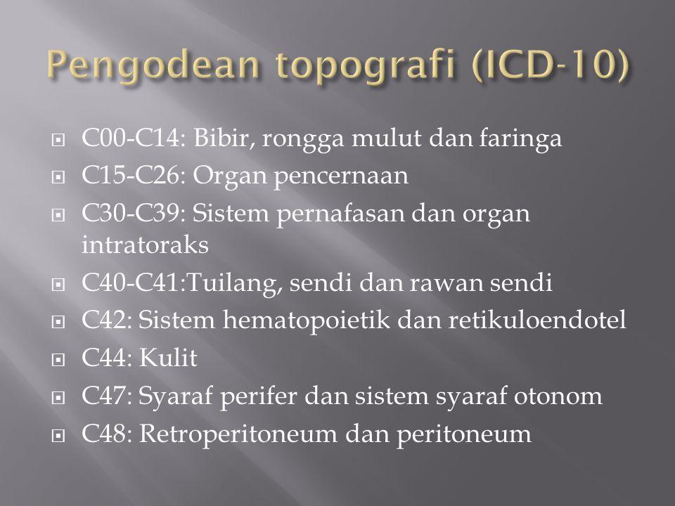  C00-C14: Bibir, rongga mulut dan faringa  C15-C26: Organ pencernaan  C30-C39: Sistem pernafasan dan organ intratoraks  C40-C41:Tuilang, sendi dan rawan sendi  C42: Sistem hematopoietik dan retikuloendotel  C44: Kulit  C47: Syaraf perifer dan sistem syaraf otonom  C48: Retroperitoneum dan peritoneum