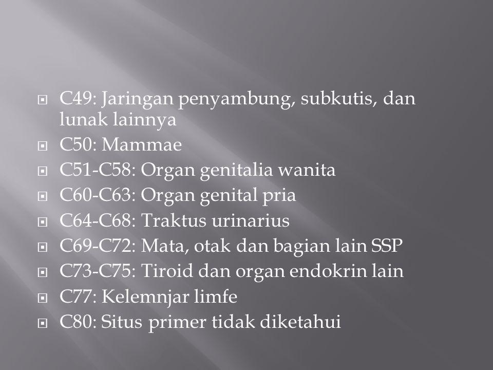  C49: Jaringan penyambung, subkutis, dan lunak lainnya  C50: Mammae  C51-C58: Organ genitalia wanita  C60-C63: Organ genital pria  C64-C68: Traktus urinarius  C69-C72: Mata, otak dan bagian lain SSP  C73-C75: Tiroid dan organ endokrin lain  C77: Kelemnjar limfe  C80: Situs primer tidak diketahui