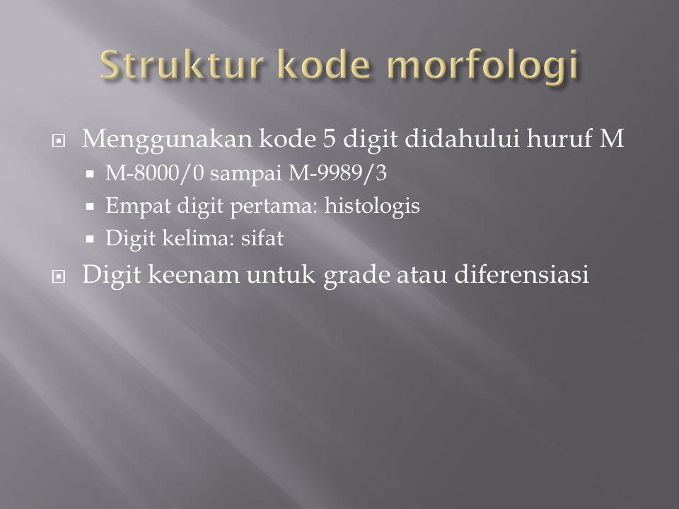  Menggunakan kode 5 digit didahului huruf M  M-8000/0 sampai M-9989/3  Empat digit pertama: histologis  Digit kelima: sifat  Digit keenam untuk grade atau diferensiasi