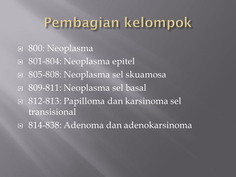  800: Neoplasma  801-804: Neoplasma epitel  805-808: Neoplasma sel skuamosa  809-811: Neoplasma sel basal  812-813: Papilloma dan karsinoma sel transisional  814-838: Adenoma dan adenokarsinoma