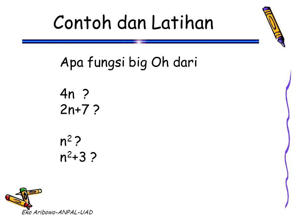 Eko Aribowo-ANPAL-UAD Contoh dan Latihan Apa fungsi big Oh dari 4n ? 2n+7 ? n 2 ? n 2 +3 ?