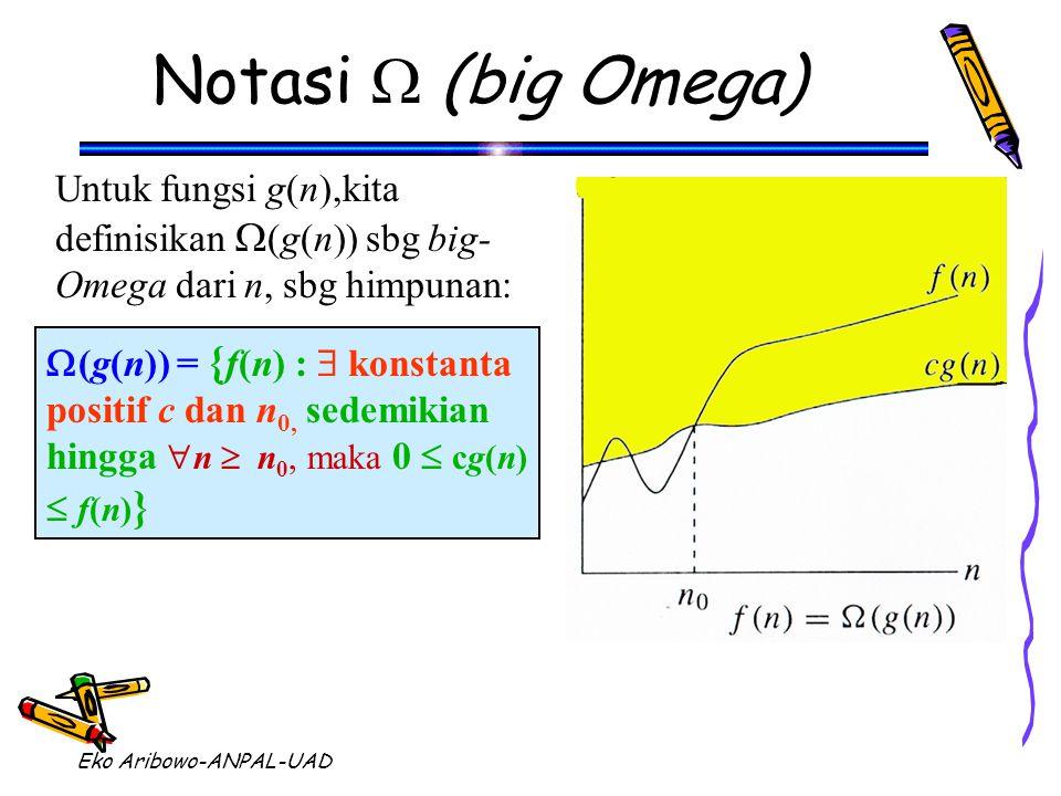 Eko Aribowo-ANPAL-UAD Notasi  (big Omega)  (g(n)) = { f(n) :  konstanta positif c dan n 0, sedemikian hingga  n  n 0, maka 0  cg(n)  f(n) } Untuk fungsi g(n),kita definisikan  (g(n)) sbg big- Omega dari n, sbg himpunan:
