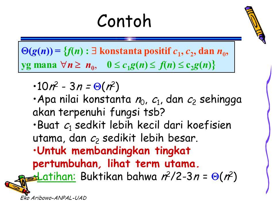 Eko Aribowo-ANPAL-UAD Contoh  (g(n)) = { f(n) :  konstanta positif c 1, c 2, dan n 0, yg mana  n  n 0, 0  c 1 g(n)  f(n)  c 2 g(n) } 10n 2 - 3n =  (n 2 ) Apa nilai konstanta n 0, c 1, dan c 2 sehingga akan terpenuhi fungsi tsb.