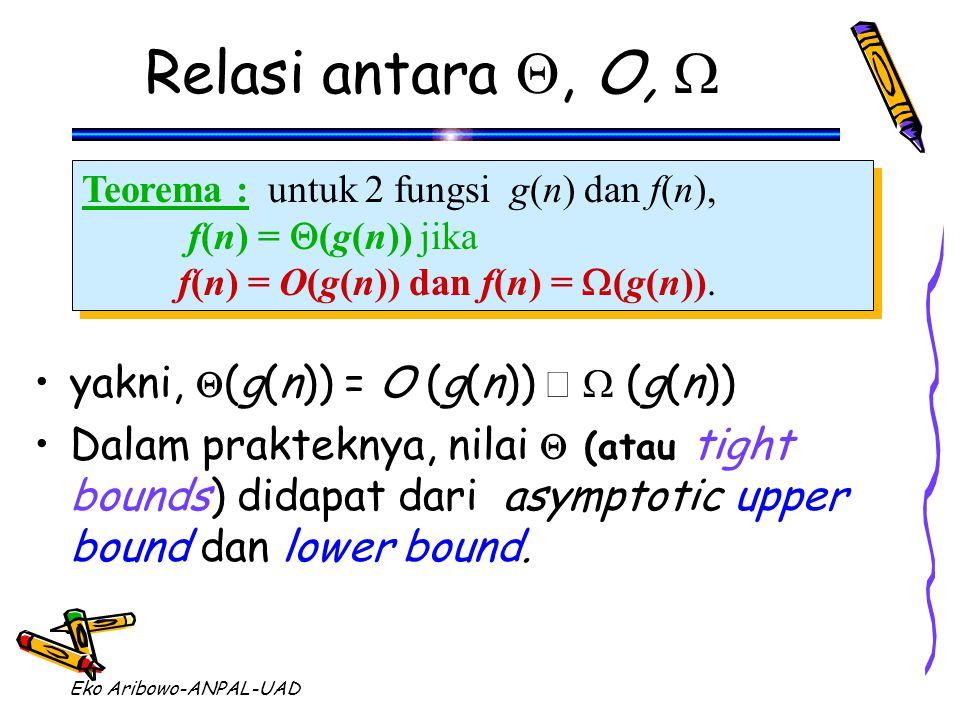 Eko Aribowo-ANPAL-UAD Relasi antara , O,  Teorema : untuk 2 fungsi g(n) dan f(n), f(n) =  (g(n)) jika f(n) = O(g(n)) dan f(n) =  (g(n)). Teorema :
