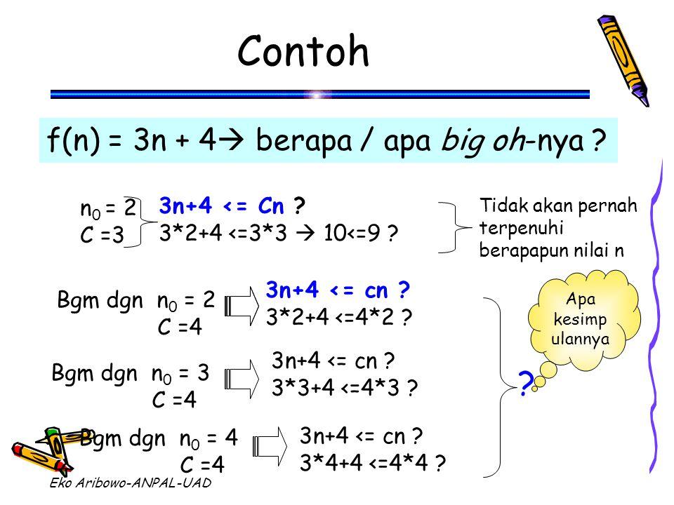 Eko Aribowo-ANPAL-UAD Contoh f(n) = 3n + 4  berapa / apa big oh-nya ? 3n+4 <= Cn ? 3*2+4 <=3*3  10<=9 ? Bgm dgn n 0 = 2 C =4 3n+4 <= cn ? 3*2+4 <=4*
