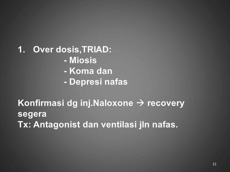 1.Over dosis,TRIAD: - Miosis - Koma dan - Depresi nafas Konfirmasi dg inj.Naloxone  recovery segera Tx: Antagonist dan ventilasi jln nafas. 12