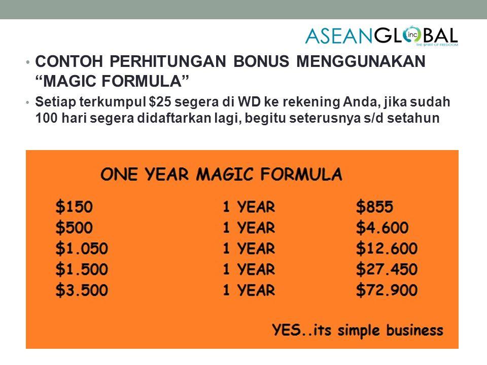 CONTOH PERHITUNGAN BONUS MENGGUNAKAN MAGIC FORMULA Setiap terkumpul $25 segera di WD ke rekening Anda, jika sudah 100 hari segera didaftarkan lagi, begitu seterusnya s/d setahun