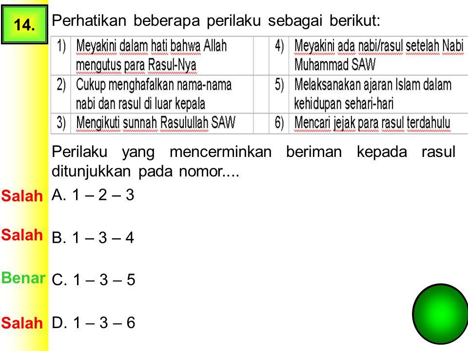 13. Perhatikan perilaku berikut! 1) Menyimpan Al-Qur`an di tempat yang sakral 2) Mengamalkan nilai-nilai Al-Qur`an dalam kehidupan 3) Hanya membaca su