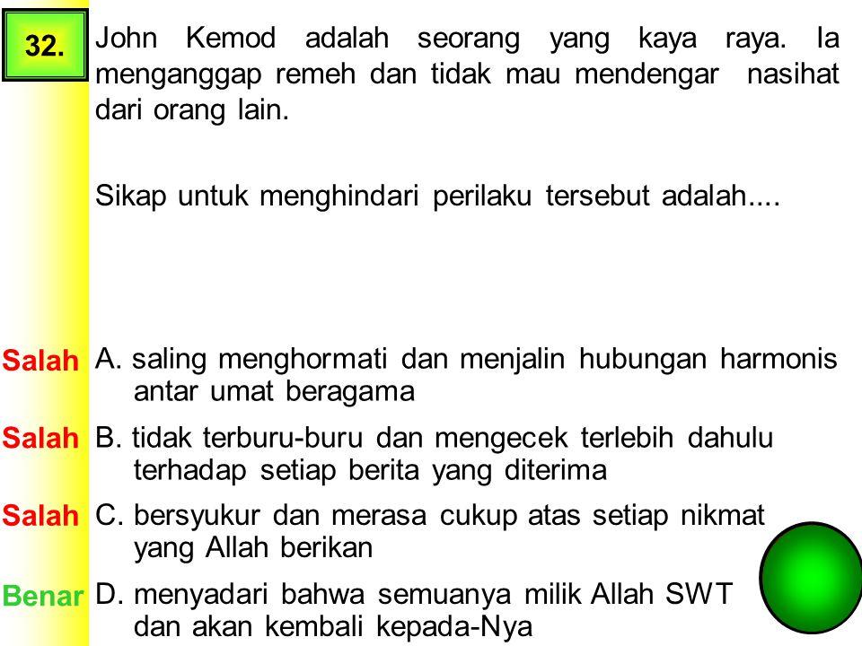 31.Allah SWT berfirman dalam QS. al-Nisa ayat 36: Makna dari ayat tersebut adalah....