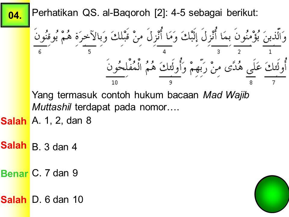03. Perhatikan beberapa ayat Surat al-Dhuha berikut! Hukum bacaan Qolqolah terdapat pada nomor.... A. 1 Salah Benar B. 2 C. 3 Salah D. 4
