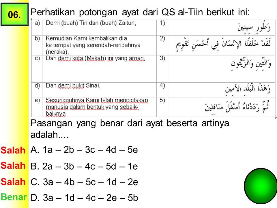 05. Perhatikan tanda bacaan waqaf pada ayat QS: Yasiin ayat 76 berikut! Tanda Waqaf pada ayat tersebut menunjukkan.... A. waqaf mutlak Salah Benar B.