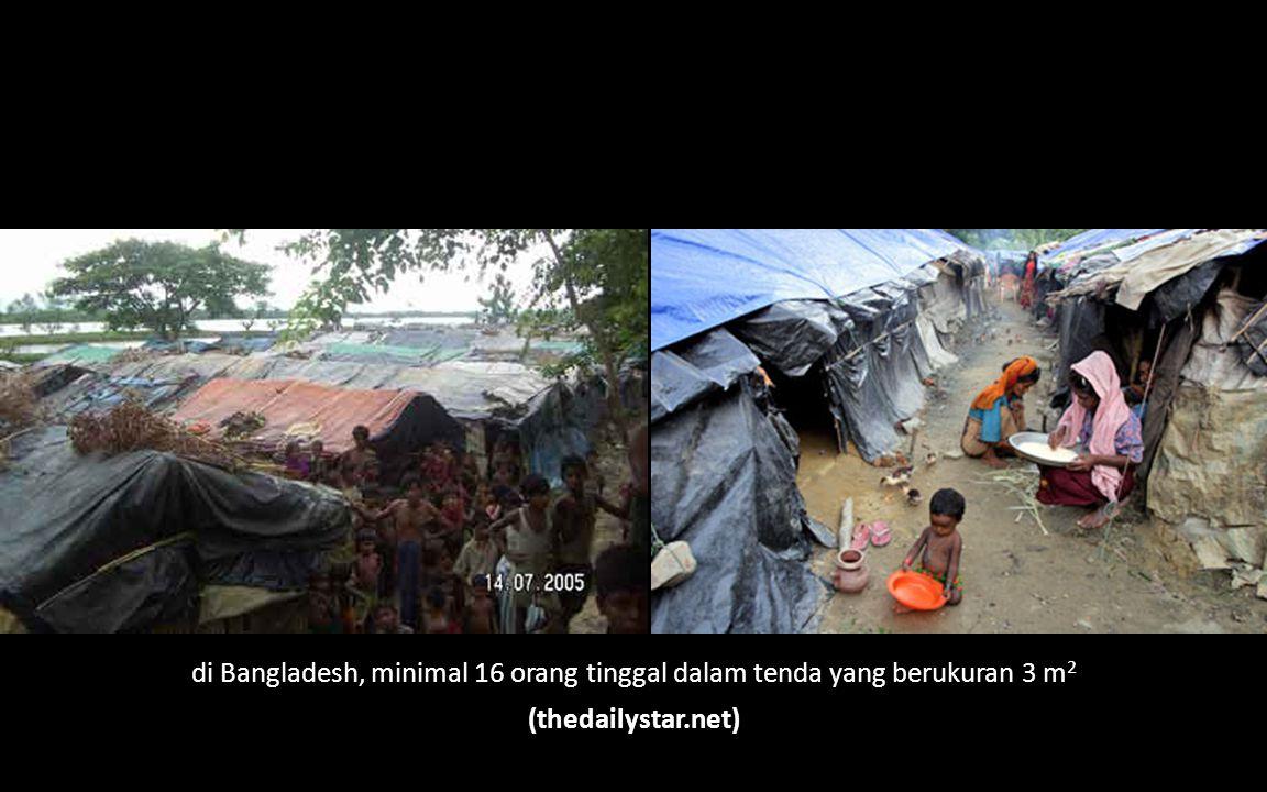 di Bangladesh, minimal 16 orang tinggal dalam tenda yang berukuran 3 m 2 (thedailystar.net)
