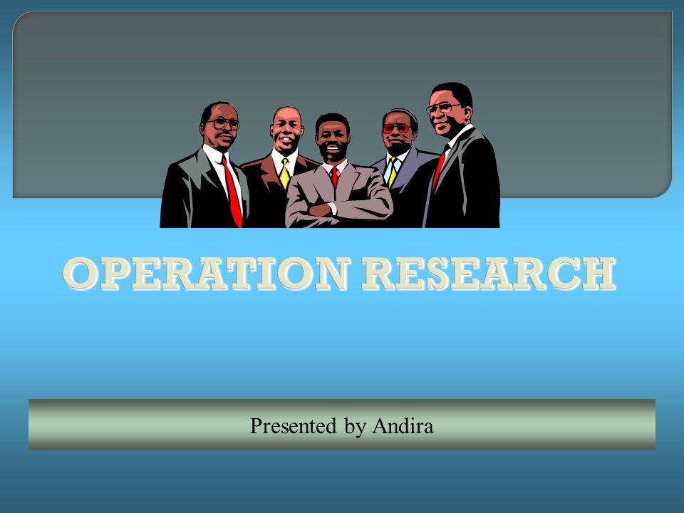 Riset Operasi adalah metode untuk memformulasikan dan merumuskan permasalahan sehari-hari baik mengenai bisnis, ekonomi, sosial maupun bidang lainnya ke dalam pemodelan matematis untuk mendapatkan solusi yang optimal.