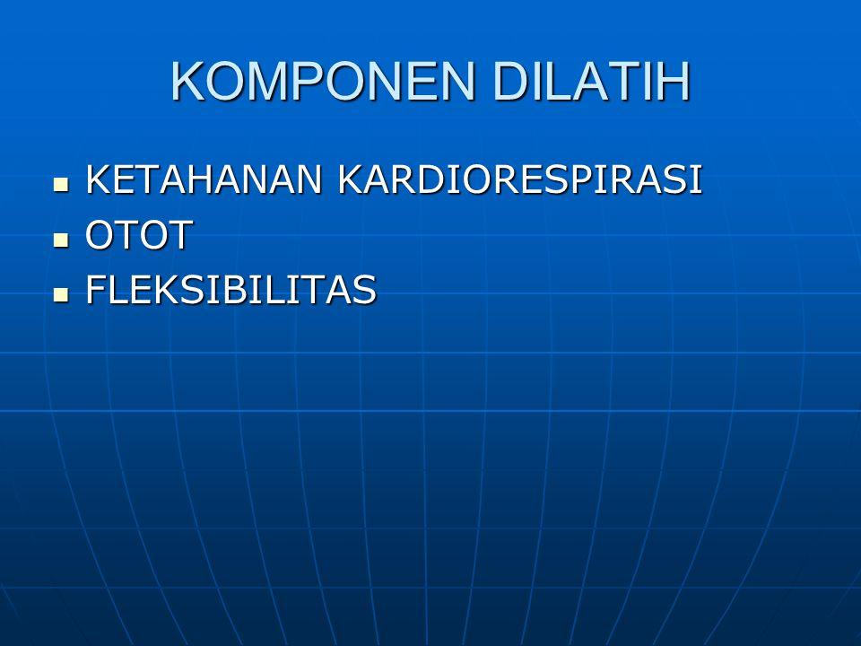 KOMPONEN DILATIH KETAHANAN KARDIORESPIRASI KETAHANAN KARDIORESPIRASI OTOT OTOT FLEKSIBILITAS FLEKSIBILITAS