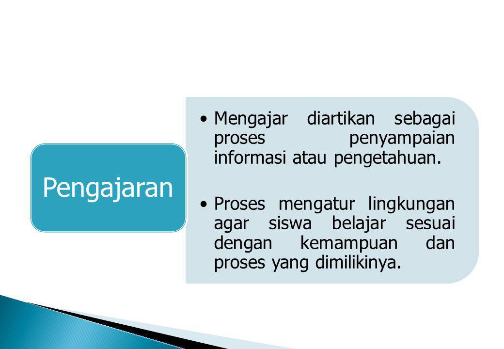 Mengajar diartikan sebagai proses penyampaian informasi atau pengetahuan.