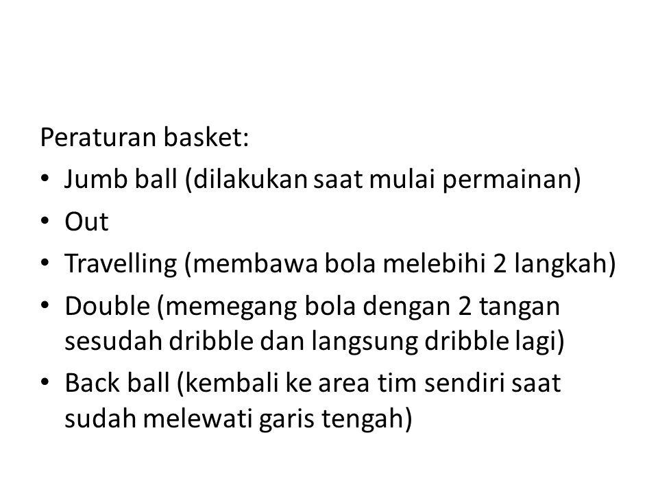 Peraturan basket: Jumb ball (dilakukan saat mulai permainan) Out Travelling (membawa bola melebihi 2 langkah) Double (memegang bola dengan 2 tangan sesudah dribble dan langsung dribble lagi) Back ball (kembali ke area tim sendiri saat sudah melewati garis tengah)