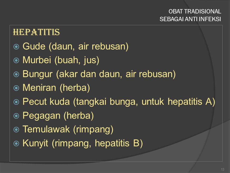 Hepatitis  Gude (daun, air rebusan)  Murbei (buah, jus)  Bungur (akar dan daun, air rebusan)  Meniran (herba)  Pecut kuda (tangkai bunga, untuk h
