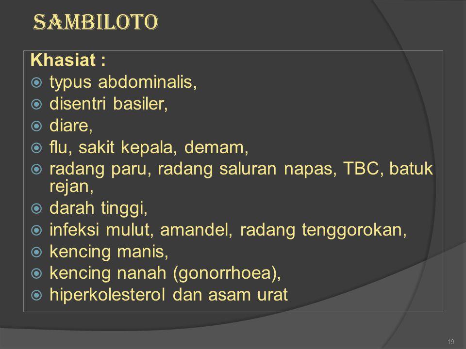 Khasiat :  typus abdominalis,  disentri basiler,  diare,  flu, sakit kepala, demam,  radang paru, radang saluran napas, TBC, batuk rejan,  darah