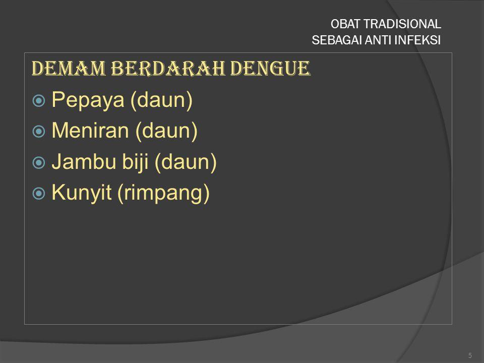 Demam Berdarah Dengue  Pepaya (daun)  Meniran (daun)  Jambu biji (daun)  Kunyit (rimpang) OBAT TRADISIONAL SEBAGAI ANTI INFEKSI 5