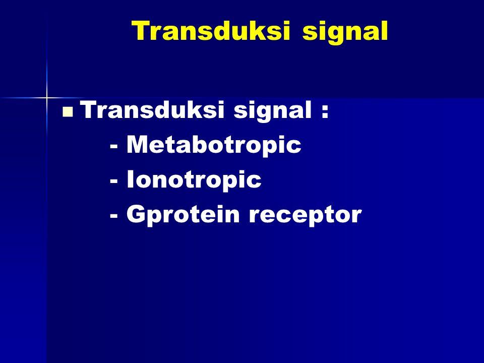 Transduksi signal Transduksi signal : - Metabotropic - Ionotropic - Gprotein receptor