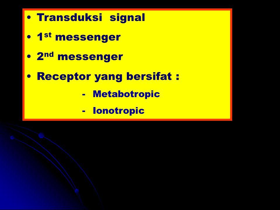 Transduksi signal 1 st messenger 2 nd messenger Receptor yang bersifat : -Metabotropic -Ionotropic