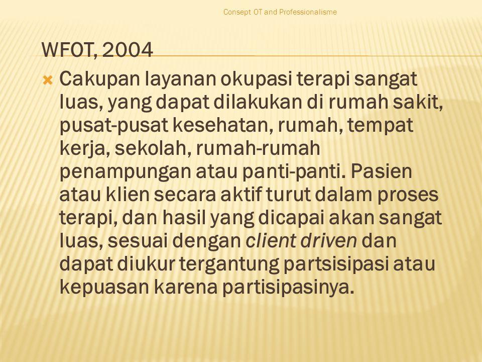 WFOT, 2004  Cakupan layanan okupasi terapi sangat luas, yang dapat dilakukan di rumah sakit, pusat-pusat kesehatan, rumah, tempat kerja, sekolah, rumah-rumah penampungan atau panti-panti.