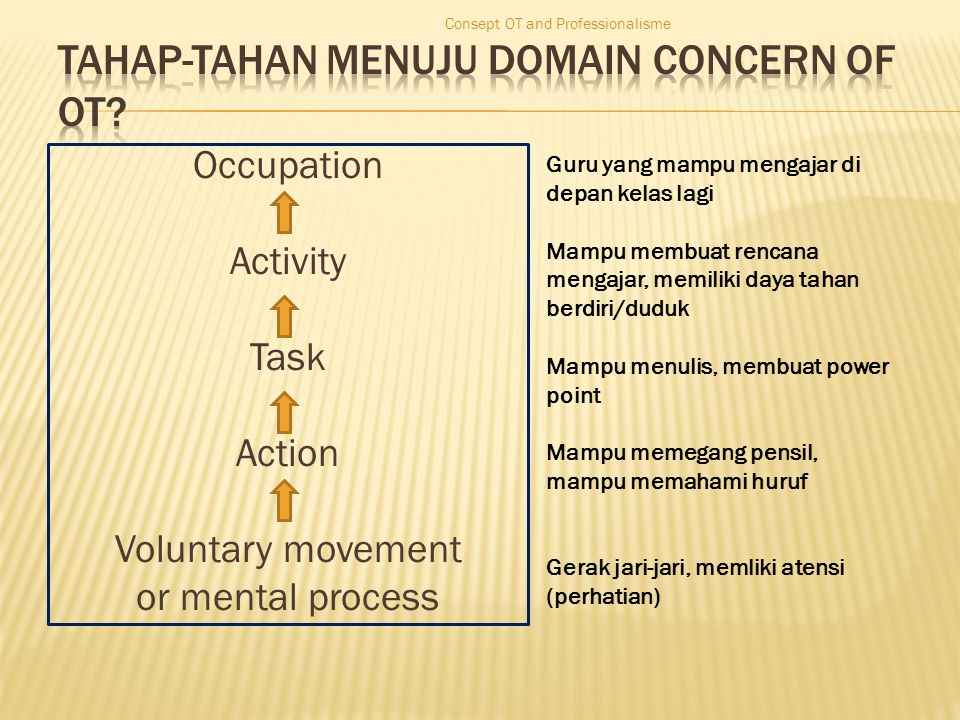 Occupation Activity Task Action Voluntary movement or mental process Consept OT and Professionalisme Guru yang mampu mengajar di depan kelas lagi Mamp