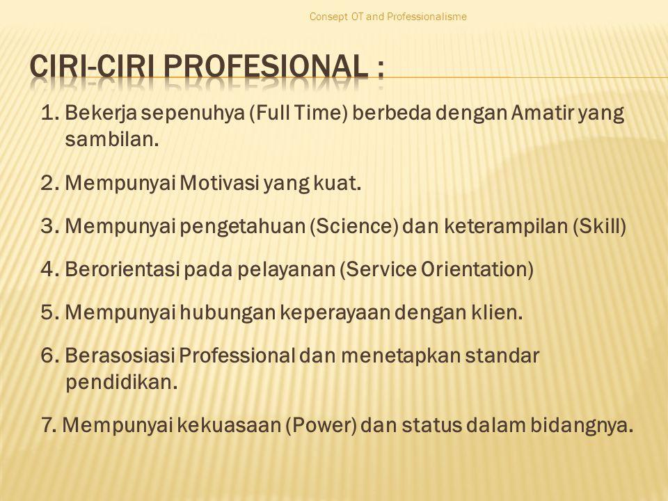 1. Bekerja sepenuhya (Full Time) berbeda dengan Amatir yang sambilan.