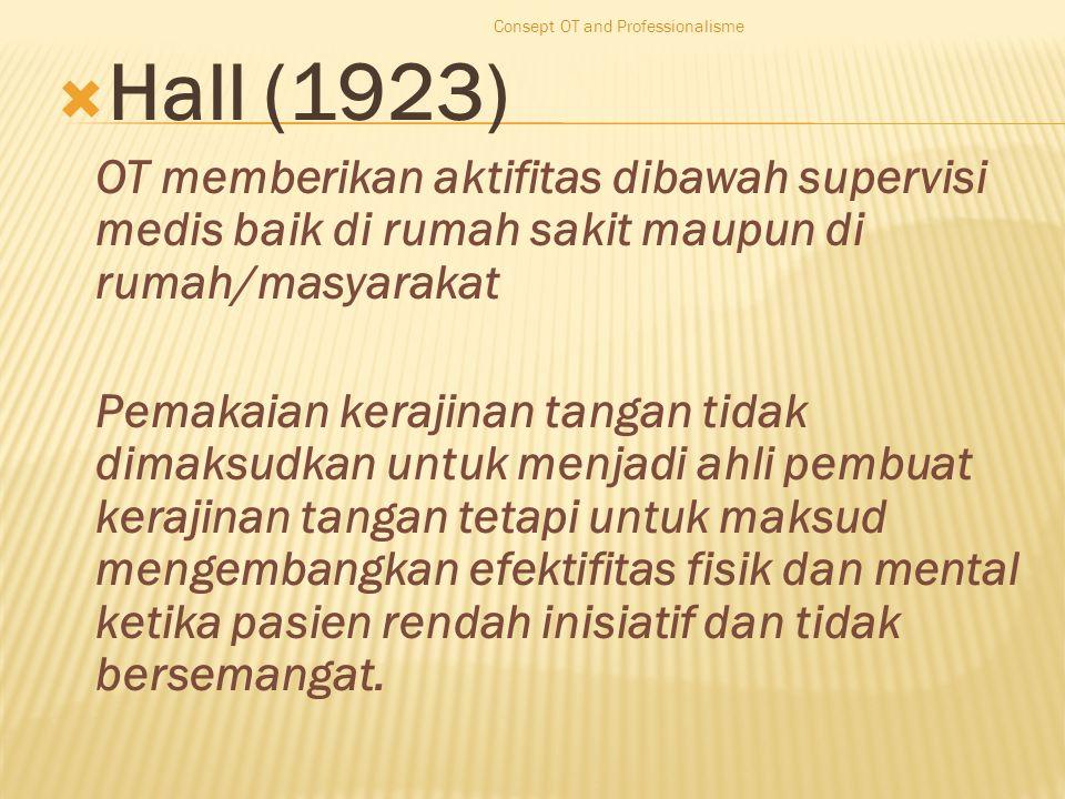  Hall (1923) OT memberikan aktifitas dibawah supervisi medis baik di rumah sakit maupun di rumah/masyarakat Pemakaian kerajinan tangan tidak dimaksudkan untuk menjadi ahli pembuat kerajinan tangan tetapi untuk maksud mengembangkan efektifitas fisik dan mental ketika pasien rendah inisiatif dan tidak bersemangat.