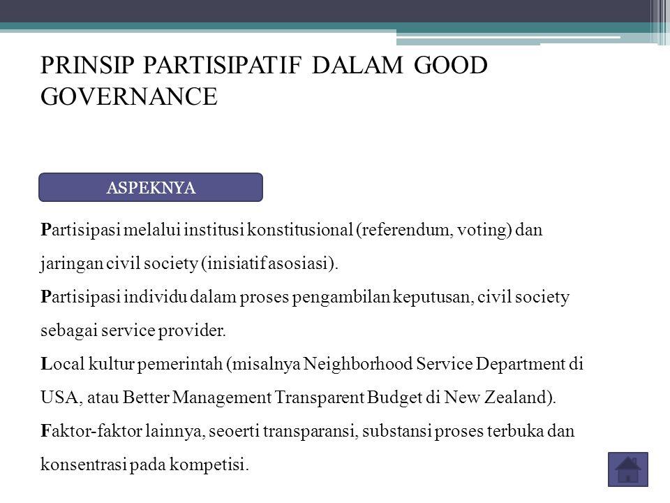 PRINSIP PARTISIPATIF DALAM GOOD GOVERNANCE ASPEKNYA Partisipasi melalui institusi konstitusional (referendum, voting) dan jaringan civil society (inisiatif asosiasi).