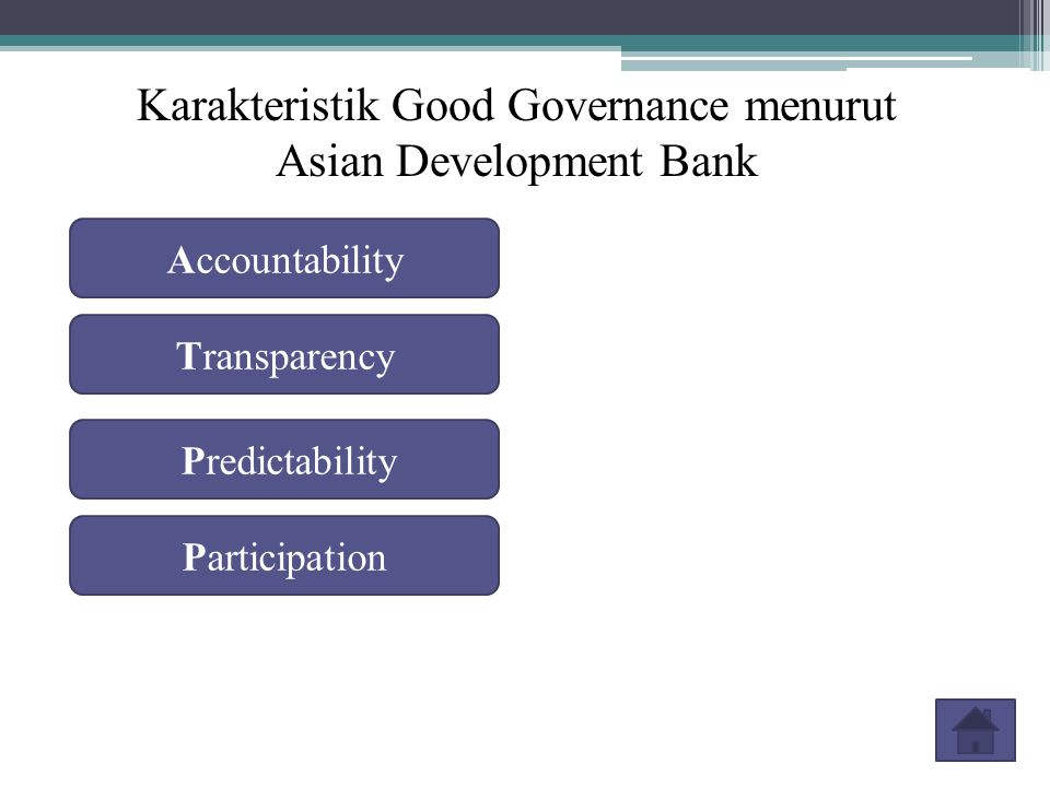 Karakteristik Good Governance menurut Asian Development Bank Accountability Participation Transparency Predictability