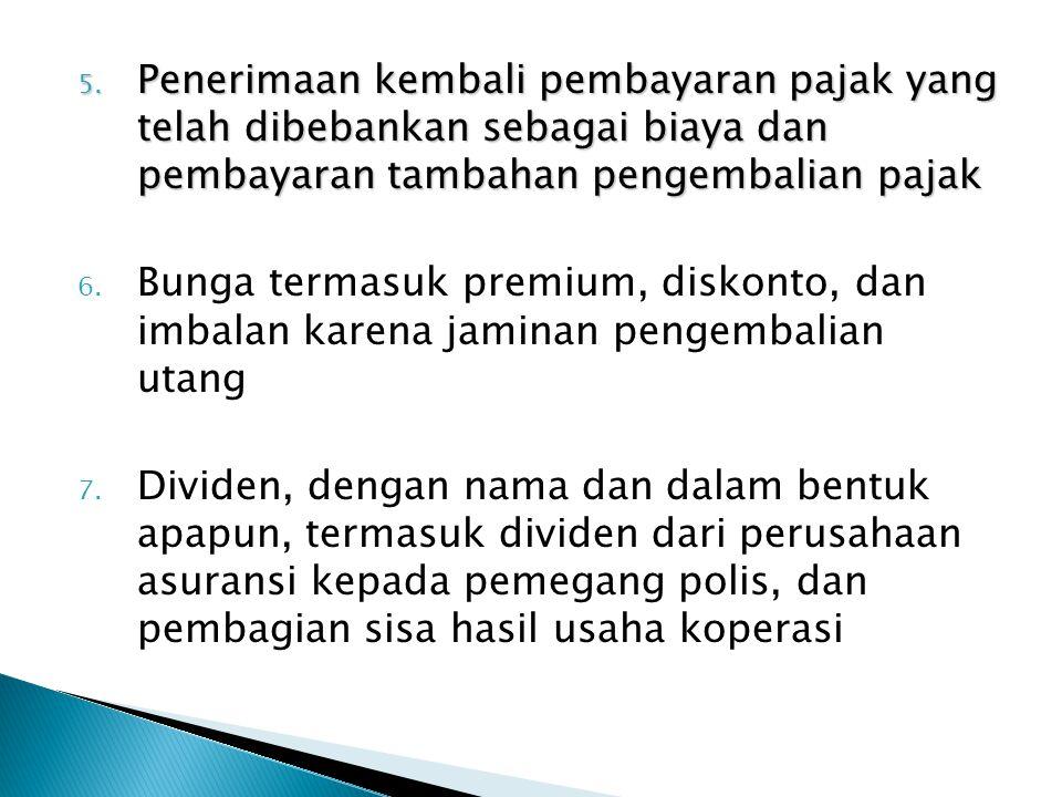 5. Penerimaan kembali pembayaran pajak yang telah dibebankan sebagai biaya dan pembayaran tambahan pengembalian pajak 6. Bunga termasuk premium, disko