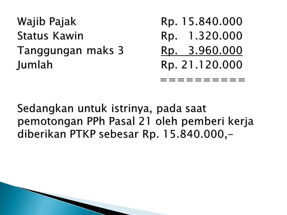 Wajib PajakRp. 15.840.000 Status KawinRp. 1.320.000 Tanggungan maks 3Rp. 3.960.000 JumlahRp. 21.120.000 ========== ========== Sedangkan untuk istrinya
