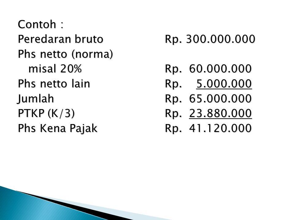 Contoh : Peredaran brutoRp. 300.000.000 Phs netto (norma) misal 20%Rp. 60.000.000 misal 20%Rp. 60.000.000 Phs netto lainRp. 5.000.000 JumlahRp. 65.000
