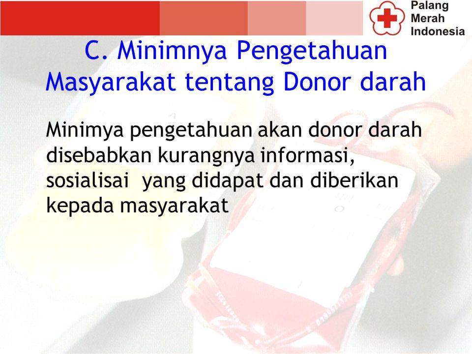 Minimya pengetahuan akan donor darah disebabkan kurangnya informasi, sosialisai yang didapat dan diberikan kepada masyarakat C.