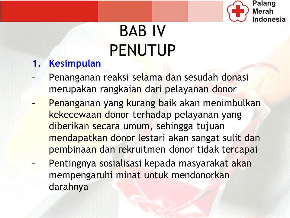 1.Kesimpulan –Penanganan reaksi selama dan sesudah donasi merupakan rangkaian dari pelayanan donor –Penanganan yang kurang baik akan menimbulkan kekec