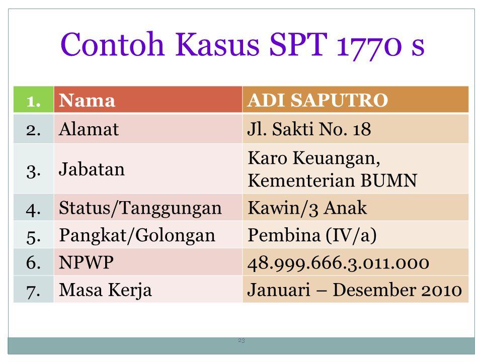 Contoh Kasus SPT 1770 s 1.NamaADI SAPUTRO 2.AlamatJl.